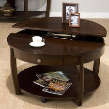 space round coffee table with drawers storage unique brown mahogany furniture minimalist stained photos framed