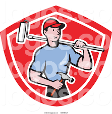 paint brush and roller clip art. royalty free vector logo of a cartoon white male handyman with roller paint brush and clip art n