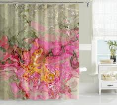 contemporary shower curtain pink golden yellow sage graygreen