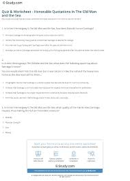 Quiz Worksheet Honorable Quotations In The Old Man And The Sea