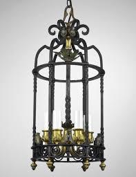 carlson galleries antique lantern chandelier light vintage cast iron black bronze gold empire 1199 00