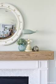 diy wood beam mantel and fireplace