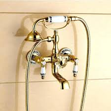 faucet shower attachment tub spout shower attachment luxury wall mount gold finish rotating bathtub faucet with handheld shower head
