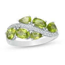 Peridot And Lab Created White Sapphire Wave Ring In Sterling Silver Size 7 Zales Outlet