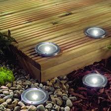 Stainless Steel Solar LED Light Deck Ground Lightsa Set Of Four Patio Lighting Solar