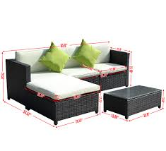 costway pc outdoor patio sofa set sectional furniture pe wicker