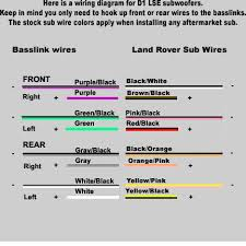 land rover discovery stereo wiring diagram subwoofer rear left conenction is hooked to the stock right sub wire coil 2 only the rear connection was used in my application but all the colors are here for