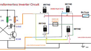 simple transformer-less inverter circuit – 1000 watt – diy electronics  circuit projects