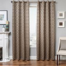 exhale dry curtain panel in mocha latte taupe brown color with modern geometric tile pattern