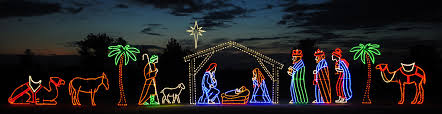Image result for christmas lights nativity scene