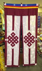 Tibetan buddhist lacy / net endless knot maroon split door curtain ...