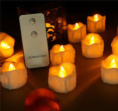 Remote Control Flameless Led Tea Lights Amber Yellow Flicker Realistic Faux Wax Dipped Battery Operated Fake Candles Imitation Wave Shaped Fireless