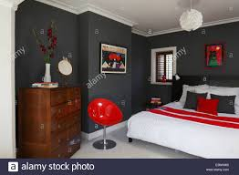 modern bedroom black and red. Red, White And Grey Colour Scheme In Modern Bedroom, Brighton, Sussex Bedroom Black Red