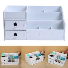 wooden makeup organizer desktop storage box rack cosmetic shelving with drawers 1 of 9only 0 available