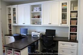 Home office built in furniture Custom Home Office With Builtin Work Stations For Two From Sawdust Girls Helpful Site Pinterest Home Office With Builtin Work Stations Decor Pinterest Home