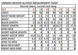 Standard Measurement Chart For Blouse Size Chart And Measurements Umbara Designs