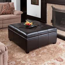 Spacious Espresso Leather Storage Ottoman Coffee Table W/ Tufted Top  Modern Living Room