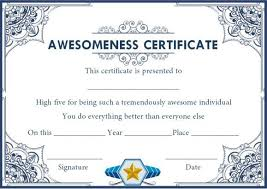 Certificate Of Awesomeness Template Certificate Of Awesomeness Template Document Certificate Of