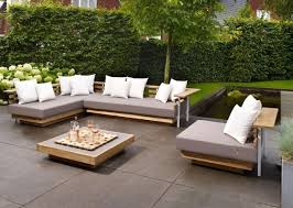 relaxing furniture. Furniture, Elegant White Cushions On Outdoor Minimalist Wooden Lounge Furniture With Grey Pad Combined Relaxing