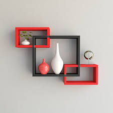 red black floating wall shelves for home decor