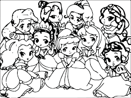 Coloring Baby Princess Coloring Pages Princesses Page Ariel Baby