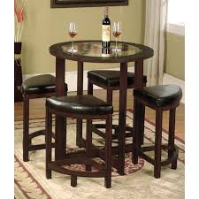 roundhill furniture cylina solid wood glass top round counter height table with 4 stools com