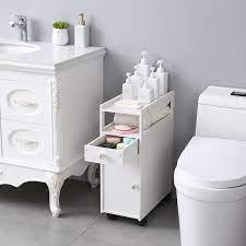 Small Bathroom Storage Thin Toilet Vanity Cabinet Narrow Bath Sink Organizer Towel Storage Shelf On Sale Overstock 30140012