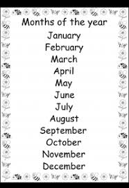 Months Of The Year Printable Chart Free Printable