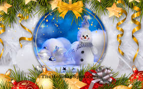 Christmas Hd Wallpaper With Snowman And Beautiful