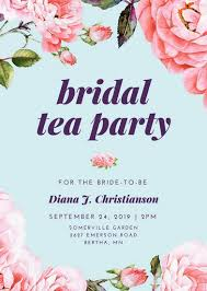 tea party templates floral bridal shower tea party invitation templates by canva