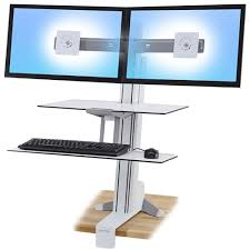 adjustable standing desk dual monitor. Brilliant Monitor WorkFitS Dual Monitor With Worksurface White  Height Adjustable For Standing Desk I