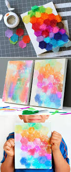 kids crafts watercolor painting with tissue paper via fiskars hq diy canvas art