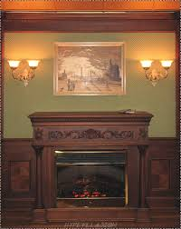 interior dark brown wooden carving fireplace mantel connected by silver picture frames and wall lights