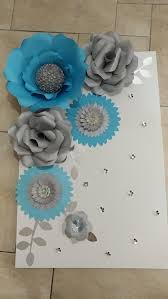 Paper Flower Business Blue Gray And Silver Paper Flowers On Canvas For Home Or Business