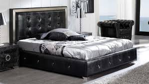 Black Button Tufted Faux Leather Modern Platform Bed wStorage