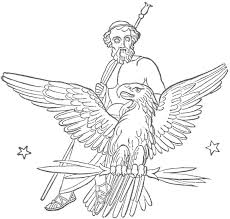 zeus jupiter seated upon an eagle