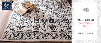 baku indigo hand tufted rug home furnishings namaste fair trade namaste uk ltd