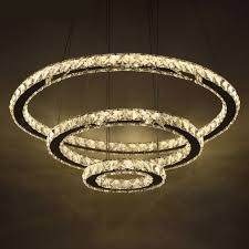 chic modern minimalist american style led crystal chandelier light hanging ceiling pendant lamp for living room warm white 2ring 40cm 60cm