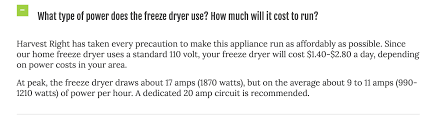 what type of power does the freeze dryer use