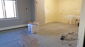 diy kitchen update wood look tile installation