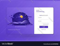 Login Form Landing Page Design Template Concept Vector Image