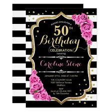 50th Birthday Invitation Pink Black White Stripes Zazzle