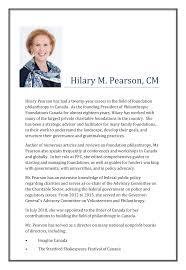 Hilary M. Pearson, CM