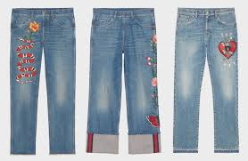 gucci snake embroidered jeans gucci fl jeans gucci heart embroidered jeans