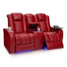 seatcraft anthem home theater seating leather power recline loveseat with center storage console powered headrests
