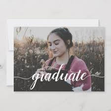High School Graduation Announcement Modern Elegant Script Photo High School Graduation Announcement
