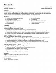 Basic Finance Manager Resume Templates Word | Resume Template