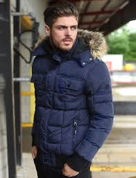 enyo quilted puffer jacket with detachable fur trim hood in midnight blue dissident