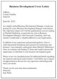 Pdf Cover Letter Free Sample Business Development Cover Letter Templates
