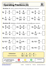 operating fractions maths worksheet